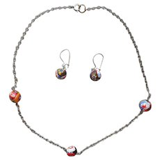 1970s Millefiore Beads Italy Vintage Dainty Necklace Pierced Earrings Set