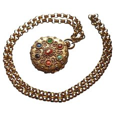 Locket Pill Box Faux Pocket Watch Vintage Necklace Cameo Stones