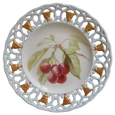 Cherries Hand Painted China Plate Lace Edge Gold Display