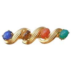 Scarab Pin Gold Filled Vintage Genuine Stones Scrolls Bar Style