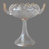 Bohemian Glass Pedestal Flower Bowl Antique Floral Cutting Gold