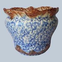 Jardiniere Blue Brown Gold Spatterware Spongeware Antique Repaired
