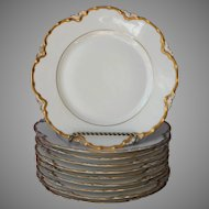 Haviland Limoges 10 Salad Plates 8.5 Inch Gold White Ranson Antique