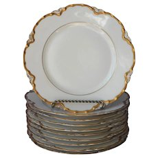 Haviland Limoges 10 Salad Plates 8.5 Inch Gold White Ranson Antique