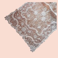Antique Lace Scarf 1910s Princess Brussels Lace 104 x 20 Exceptional