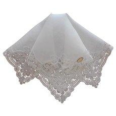 Hankie Fine Unused Linen Lace Swiss Wedding Worthy Original Label