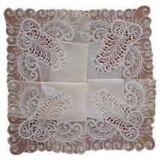 Lace Linen Hankie Vintage Unused Original Desco Label Wedding
