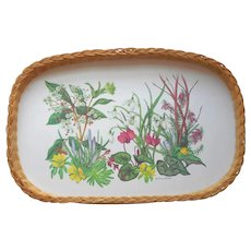 English Tray Wicker Melamine Vintage Meadow Flowers Summer Entertaining