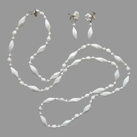 Miriam Haskell Summer White Glass Long Necklace Dangle Earrings Set Signed Vintage
