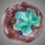Antique Majolica Plate Wedgwood Grape Leaf Grapes Brown Green