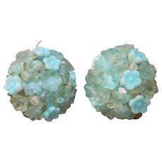 Vendome Earrings Clip Vintage Sky Blue Flower Glass Beads Clusters