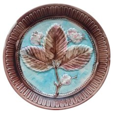 Antique Majolica Plate Strawberry Blossoms And Leaves Turquoise Pink Brown