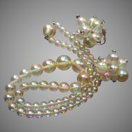 Soap Bubble Vintage Plastic Richelieu Earrings Rhinestones Beads Necklace