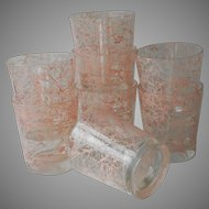 1950s Pink Spatter Cocktail Barware Rocks Glasses Bar String Splatter Spaghetti Vintage