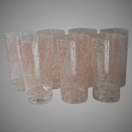 1950s Pink Spatter Cocktail Barware Highball Glasses Bar String Splatter Spaghetti Vintage