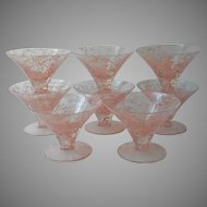 1950s Pink Spatter Cocktail Barware Flared Martini Glasses Bar String Splatter Spaghetti Vintage