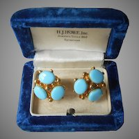 1960s Faux Turquoise Glass Earrings Vintage Screw Back