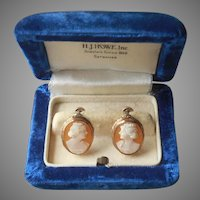 Gold Filled Carved Shell Cameo Vintage Earrings Screw Back Pretty Frames