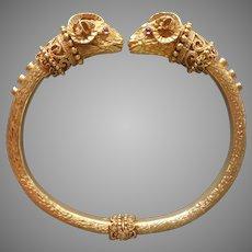 Zolotas 18K Gold Rubies Heritage Rams Heads Hinged Bracelet Vintage