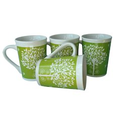 Royal Norfolk Tree Of Life Green White Mugs Set 4 Mug Birds Flowers