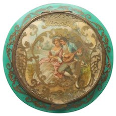ca 1920 Compact Antique French Lovers Lacy Brass Cutouts Green Celluloid