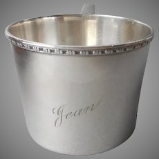 Jean Engraved On Antique Baby Cup Silver Plated 1910s