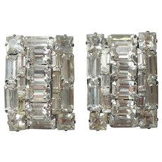 Big Rectangular Rhinestone Earrings Vintage Clip Emerald Square Baguette Cut