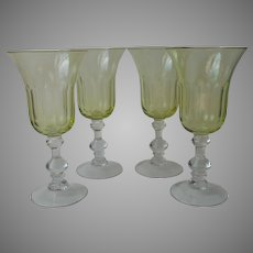 Chartreuse Yellow Green Cut Wine Water Goblets Glasses Clear Molded Stems Set 4 Vintage