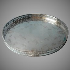 Big Sheffield Gallery Round Tray Antique Silver On Copper Israel Freeman And Son