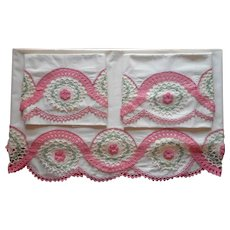 Sheet Pillowcases Unused Vintage Crocheted Lace Pink Flowers Set
