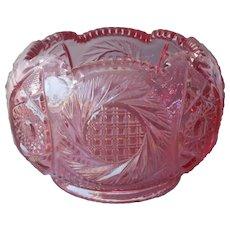 Rose Bowl Pink Pressed Glass Vintage Lovely Color