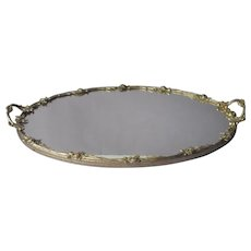 Vanity Perfume Tray Silver Tone Finish Roses Mirror Vintage Handles