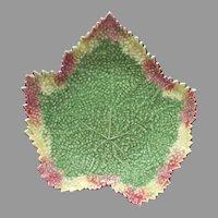 Bordallo Pinheiro Grape Leaf Form Majolica Serving Plate Pink Green