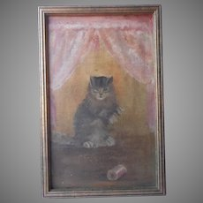 Antique Cat Painting Oil On Board After Ben Austrian Corticelli Thread Cat