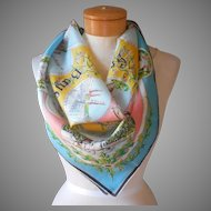 European Souvenir Scarf Bavaria Vintage Printed Silk or Blend 27 Inch