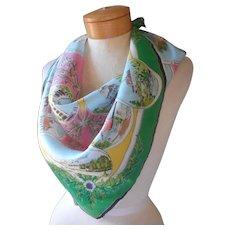 European Souvenir Scarf Bavaria Vintage Printed Silk or Blend 27 Inch