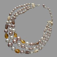 Glass Beads 3 Strand Necklace Vintage 1950s Taupe Yellow Cream