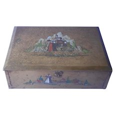 1920s Dresser Box Metal Vintage Grammes Castle Lord Lady Painted Lined With Plush