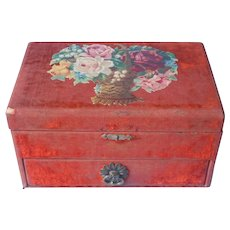 Antique Plush Sewing Box or Jewelry Rust Color Velvet Die Cut Flowers Decoration