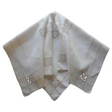 1920s Tea Tablecloth Reticella Lace Inserts Linen Vintage