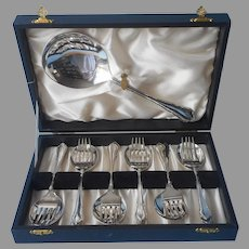 English Cake Berry Dessert Set Antique Silver Plated In Box Forks Serving Spoon Spoons