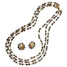 Crown Trifari Brown AB Crystal Beads Gold Tone Vintage Necklace Clip Earrings Set