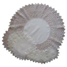 Armenian Needle Lace Linen Antique Luncheon Doilies Set With Centerpiece