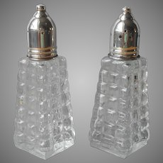 Vintage Shakers Anchor Hocking Square Pressed Glass Silver Plated Lids