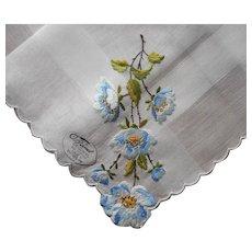 Vintage Hankie Unused Blue Flowers Hand Embroidery Burmel Label
