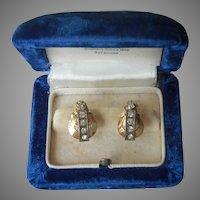 Gold Filled Earrings Vintage Screw Back Faux Diamonds Art Deco Styling