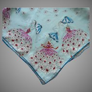 1950s Silk Blend Scarf Vintage Spring Ladies Umbrellas Flower Skirts Blue