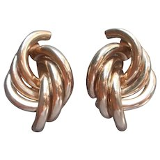 Big 1980s Knot Earrings Large Tubes Vintage 1 Marked Jomaz 1 Marked Bergere