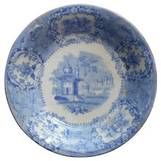 Butter Pat Dish Staffordshire Ridgways Oriental Blue Transferware Antique