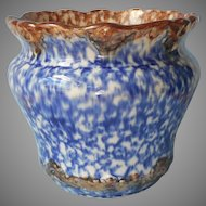 Jardiniere Antique Blue Brown Mottled Glaze Pottery Gold Spangled